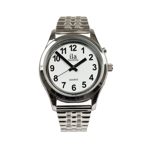 Mens Talking Date Time Watch Silver Finish Expansion Band