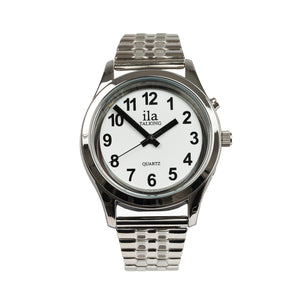 Image of Mens Talking Date Time Watch Silver Finish Expansion Band