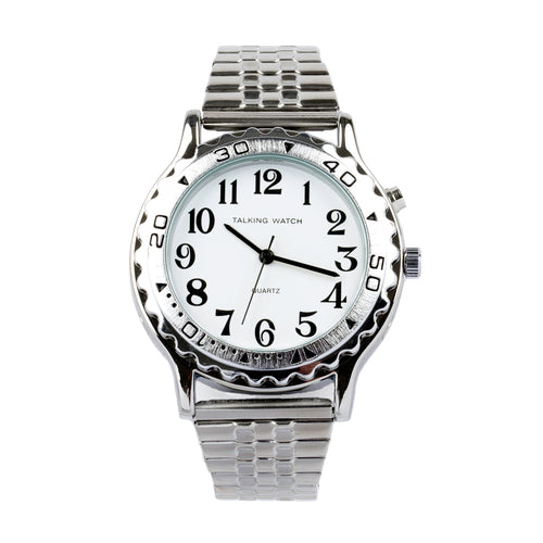 Mens Talking Watch Silver Finish Exp Band 1 Button