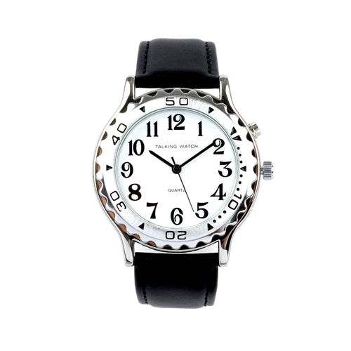 French-Quantum Watch Men 1 Button Slvr Talk W/ Blk Leat Band