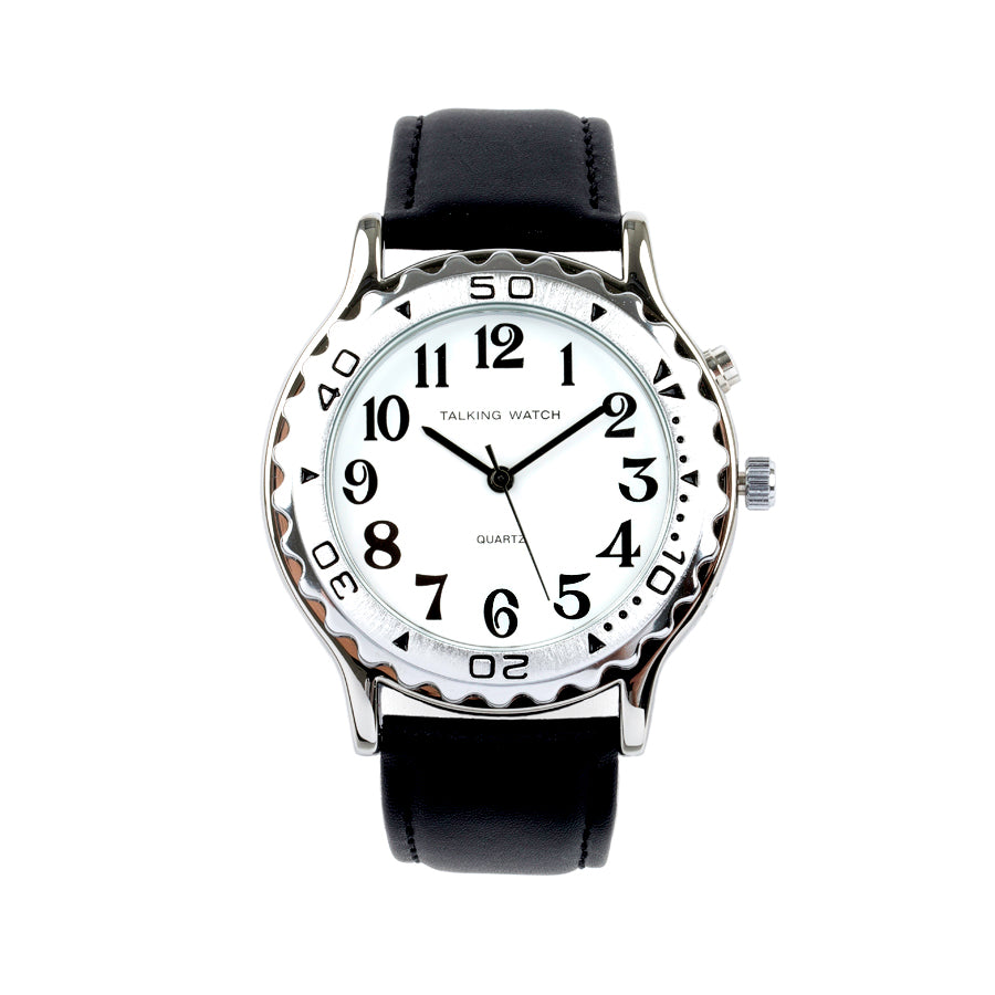 Image of French-Quantum Watch Men 1 Button Slvr Talk W/ Blk Leat Band