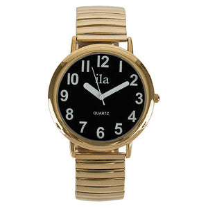 Image of Easy To See Watch Black Face White Numbers Gold Tone Expansi