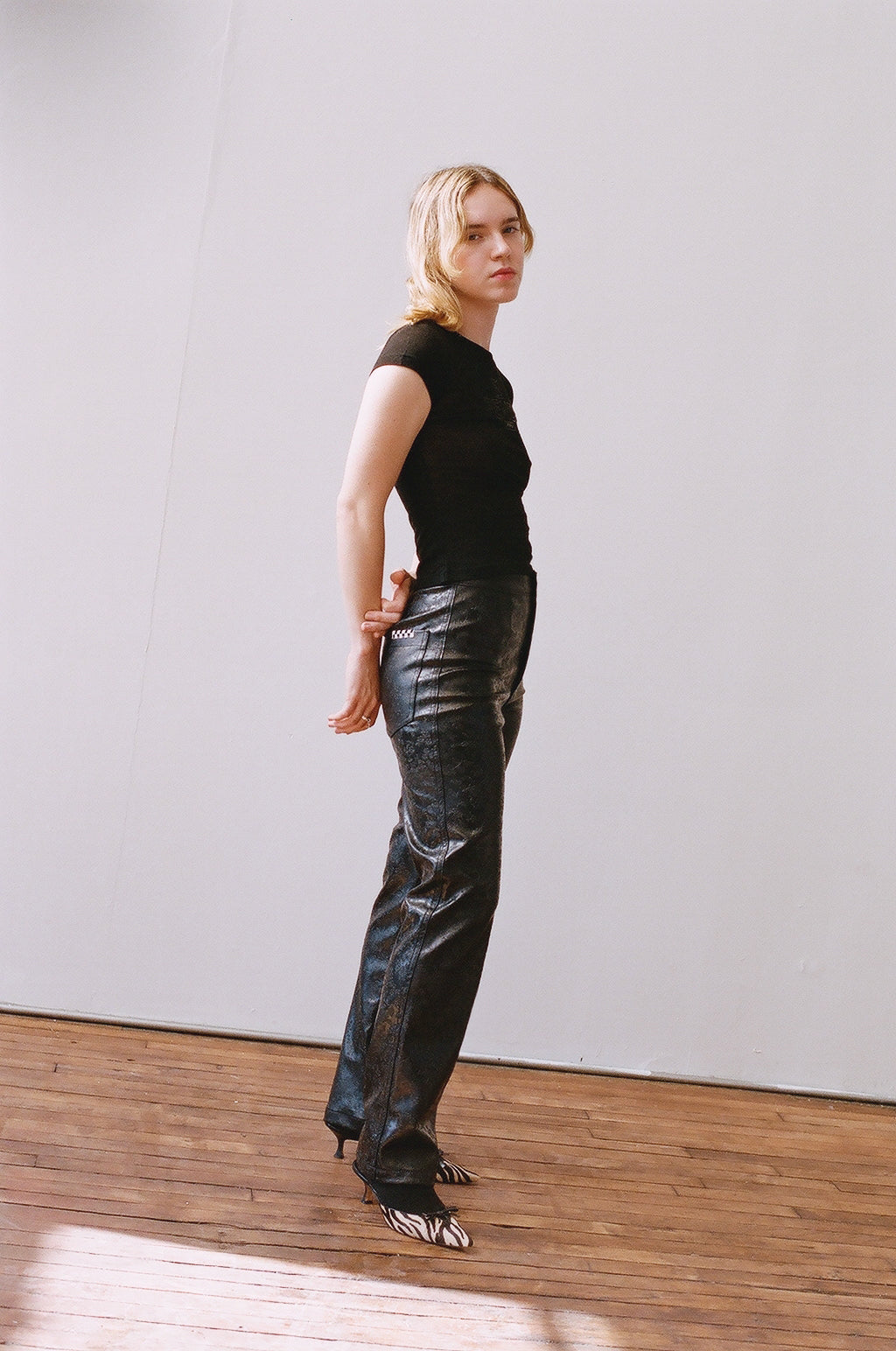 Daisy Trousers - Floral Embossed Faux Leather