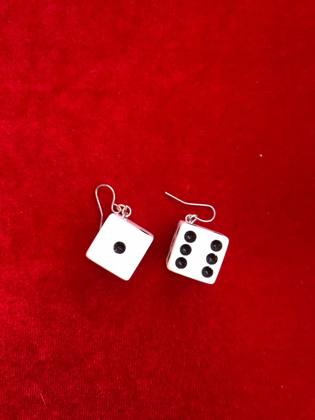 Vintage Dice Earring Set - White