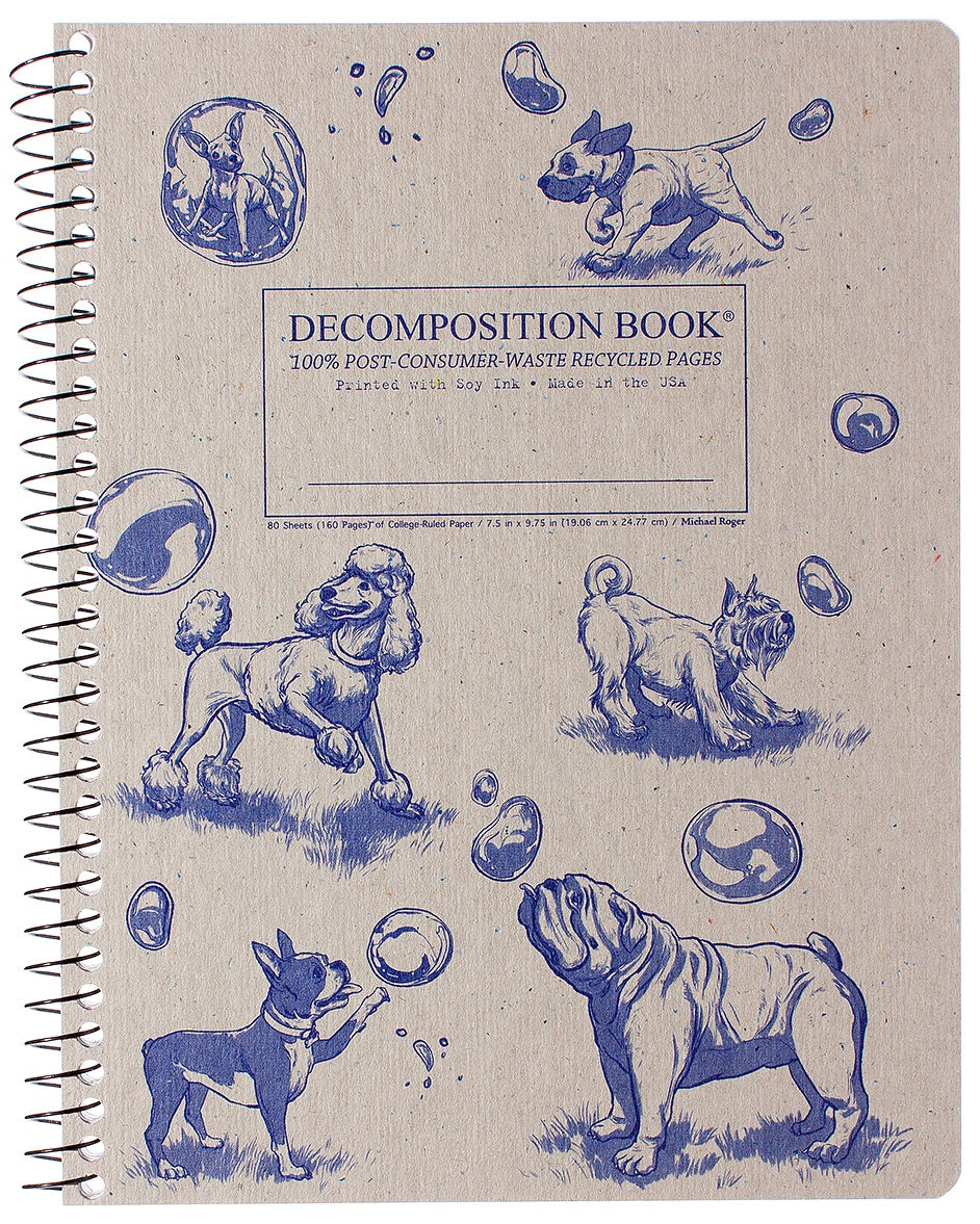 Dogs and Bubbles Spiralbound Decomposition Notebook