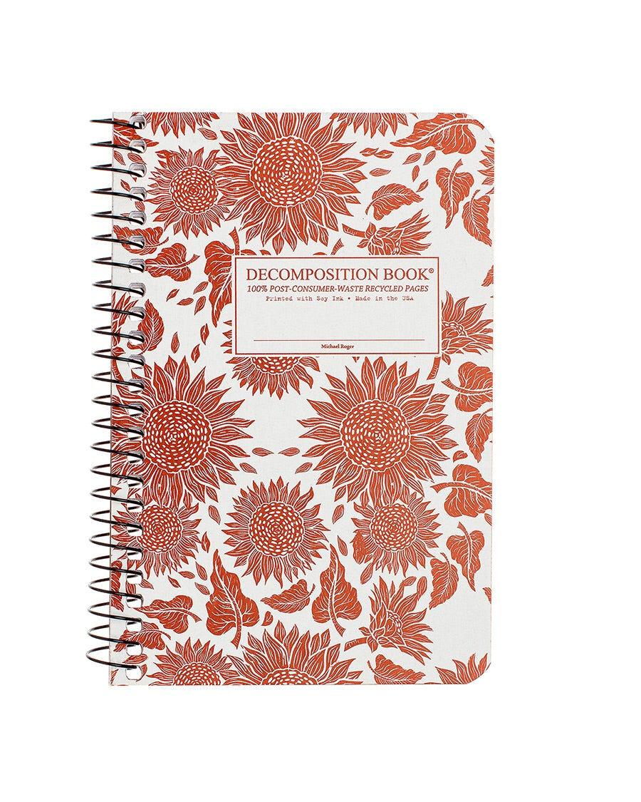 Pocket Sized Sunflowers Spiralbound Decomposition Notebook