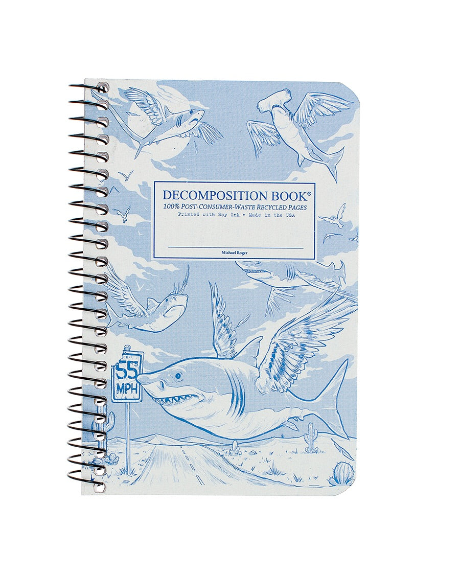 Pocket Sized Flying Sharks Spiralbound Decomposition Notebook
