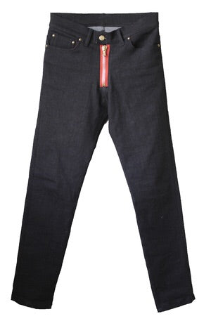 Dark Denim Jeans - Red Zip