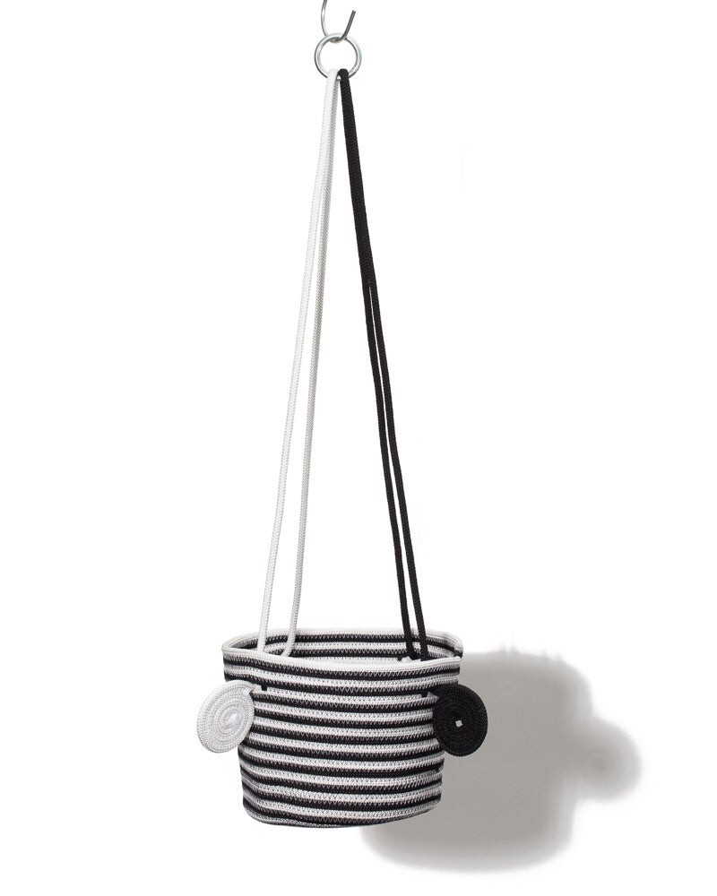 Hanging Basket - B+W Striped
