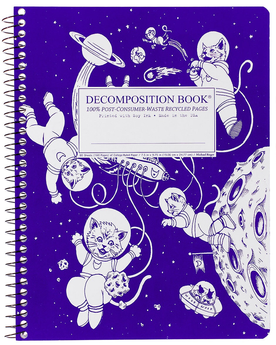 Kittens in Space Spiralbound Decomposition Notebook