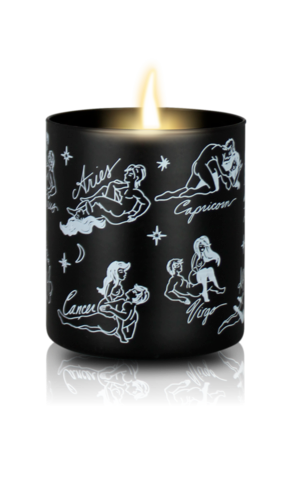 Sexy Astrology Body Oil Candles - All Signs - Black/Floral Scent - Large - Female/Male