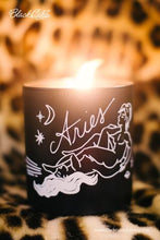 Load image into Gallery viewer, Sexy Single Zodiac Body Oil Candles - Black/Floral Scent - Medium
