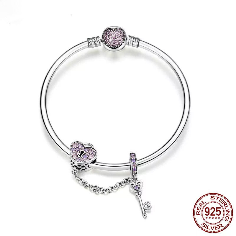 Love Heart Lock and Key Charm Bangle