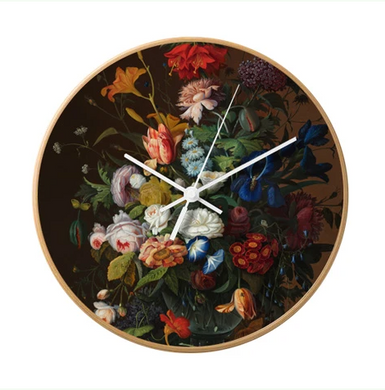 Beautiful Flowers Clock in full colour and with a wooden frame.