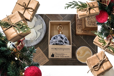 Ecopompom christmas time, from the school fundraising shop in its eco friendly packaging.