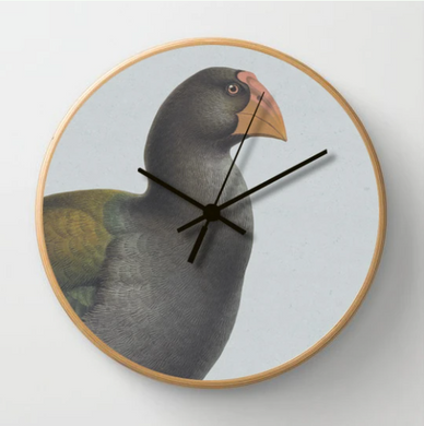 Hushed Blue Takahe Clock with a blue background and a wooden frame