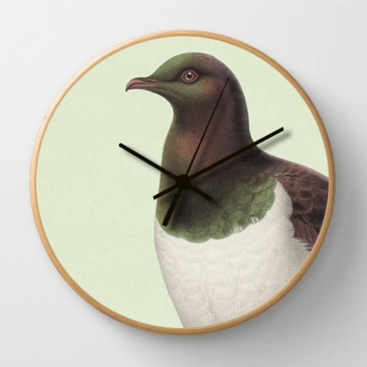 Hushed Green Kereru Clock on a green background and a wooden frame
