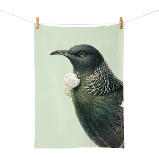 Hushed Green Tui Tea Towel. Made in New Zealand.