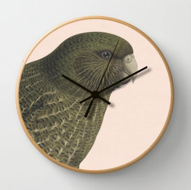Hushed Pink Kakapo Clock with a pink background and wooden frame