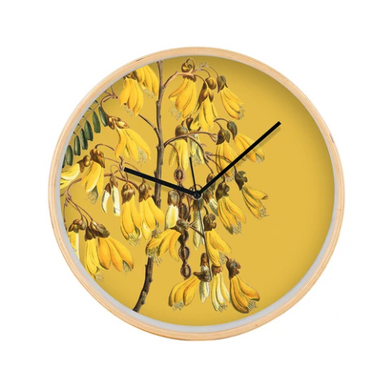 Kowhai Flower Clock on a yellow background and wooden frame