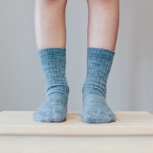 Load image into Gallery viewer, Merino Wool Crew Rib Socks - Grey New Zealand made socks for kids