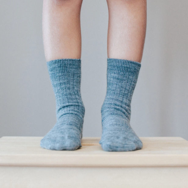 Merino Wool Crew Rib Socks - Grey New Zealand made socks for kids
