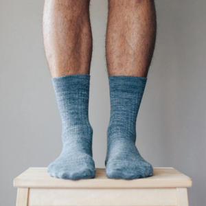Merino Wool Crew Rib Socks - Grey New Zealand made socks for men and women