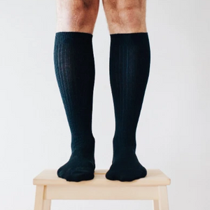 Merino Wool Knee High Rib Socks - Black and these are for Men
