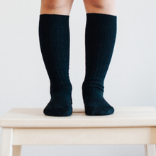Load image into Gallery viewer, Merino Wool Knee High Rib Socks. These are Black and so comfortable.
