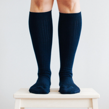 Load image into Gallery viewer, Merino Wool Knee High Rib Socks - Navy and these are for women