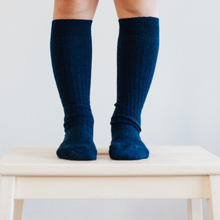 Load image into Gallery viewer, Merino Wool Knee High Rib Socks - Navy and these are for kids