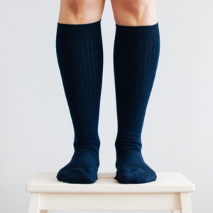 Merino Wool Knee High Rib Socks - Navy and these are for women