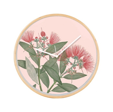 Pohutukawa Flower Clock with pink background and wooden frame