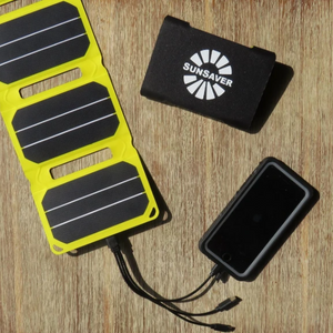 SunSaver Power Flex, 6.4-Watt Solar Charger charging a phone from the sun