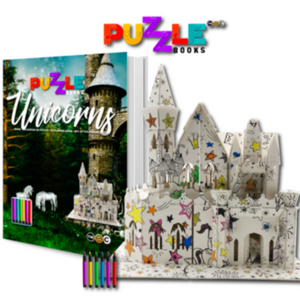 This is a unicorn puzzlebook with colouring pens