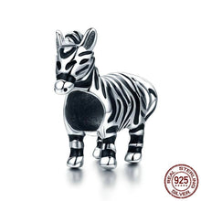 Load image into Gallery viewer, Silver & Black Zebra Charm