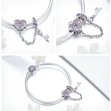 Load image into Gallery viewer, Love Heart Lock and Key Charm Bangle