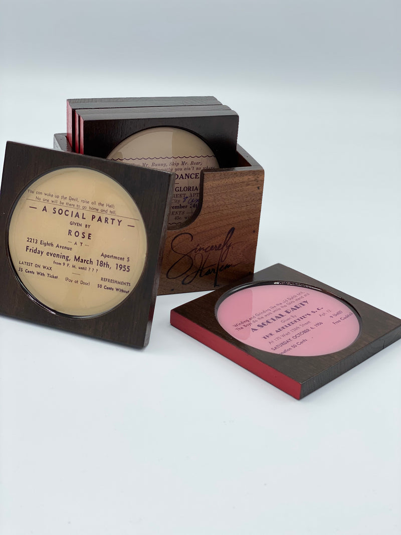 Rent Party Cards Walnut Coaster Set