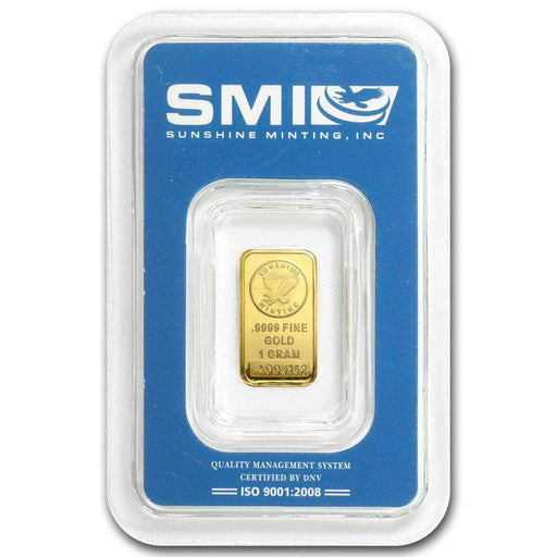 1 gram Gold Bar - Sunshine Minting New Design (In TEP Packaging) - HMint Precious Metals