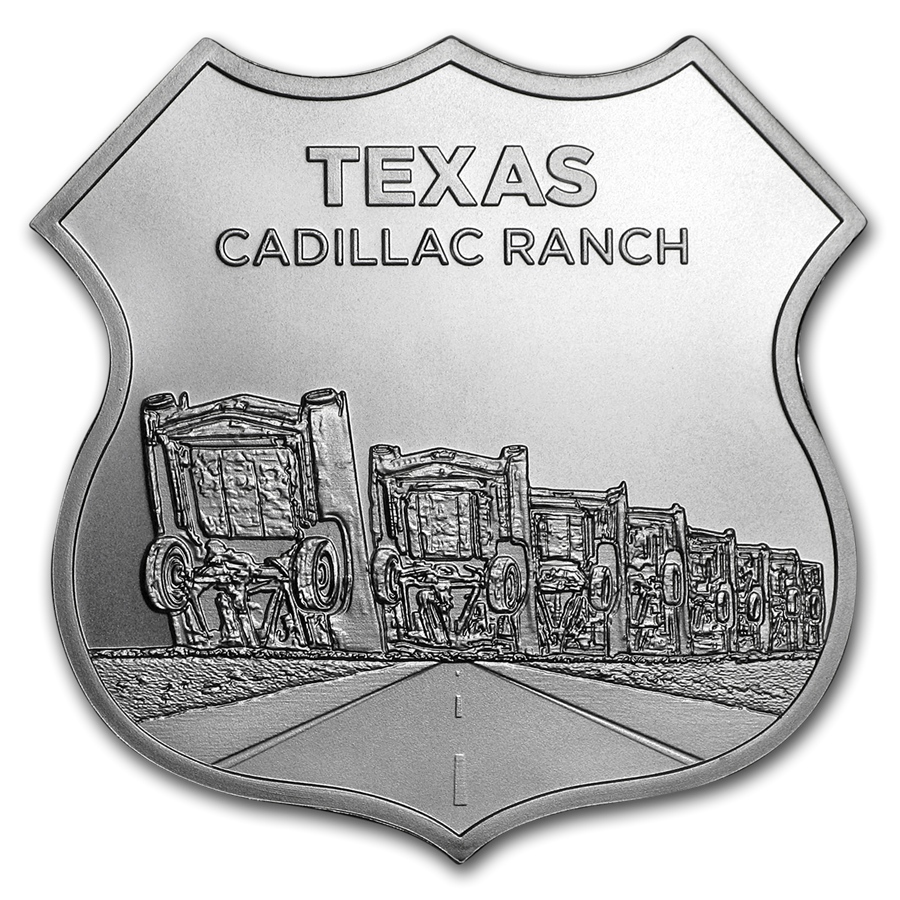 1 oz Silver - Icons of Route 66 Shield (Texas Cadillac Ranch) - HMint Precious Metals