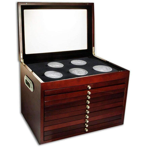 10-Drawer Custom Wood Display Box for 56-Coin America the Beautiful Set - HMint Precious Metals