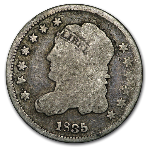 1835 Capped Bust Half Dime Small Date/Large 5 VG - HMint Precious Metals