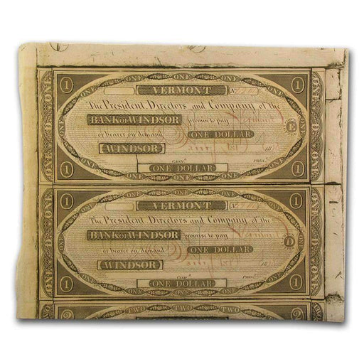 1838 Bank of Windsor, VT Pair of $1.00 Notes CU - HMint Precious Metals