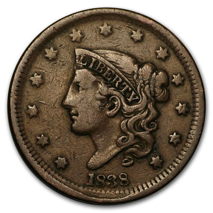 1838 Large Cent VF - HMint Precious Metals