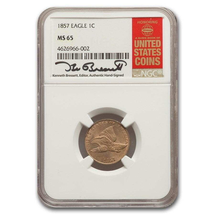 1857 Flying Eagle Cent MS-65 NGC - HMint Precious Metals