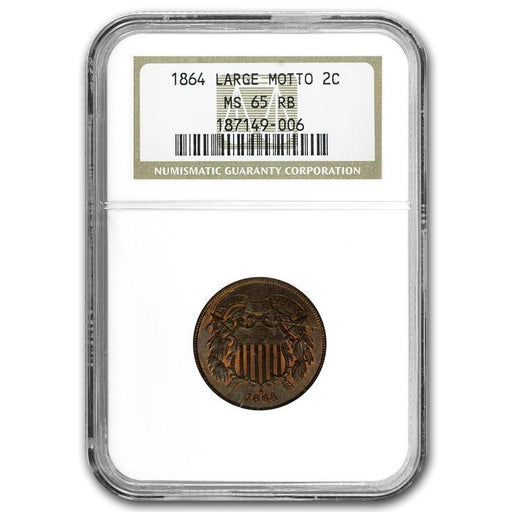 1864 Two Cent Piece Large Motto MS-65 NGC (Red/Brown) - HMint Precious Metals