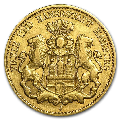 1875-1913 Germany Gold 10 Marks Hamburg Avg Circ (Random Year) - HMint Precious Metals