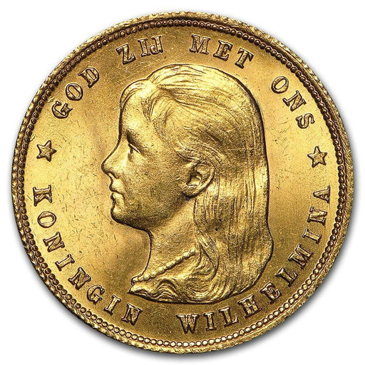 1897 Netherlands Gold 10 Guilder Wilhelmina Flowing Hair Avg Circ - HMint Precious Metals