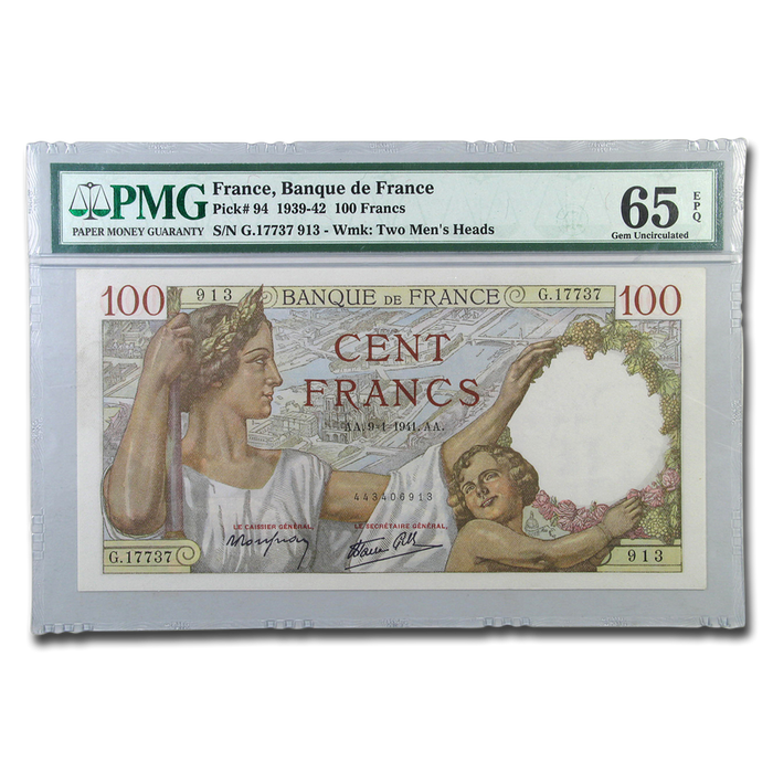 1939 France 100 Francs Woman & Child CU-65 EPQ PMG - HMint Precious Metals