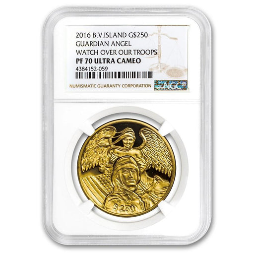 2016 British Virgin Islands 1 oz Gold Guardian Angel (Watch our Troops) PF-70 NGC - HMint Precious Metals
